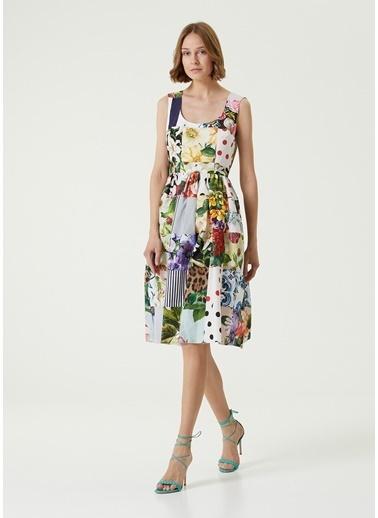 Dolce&Gabbana Dolce&Gabbana Patchwork Desenli Midi Poplin Elbise 101618968 Renkli